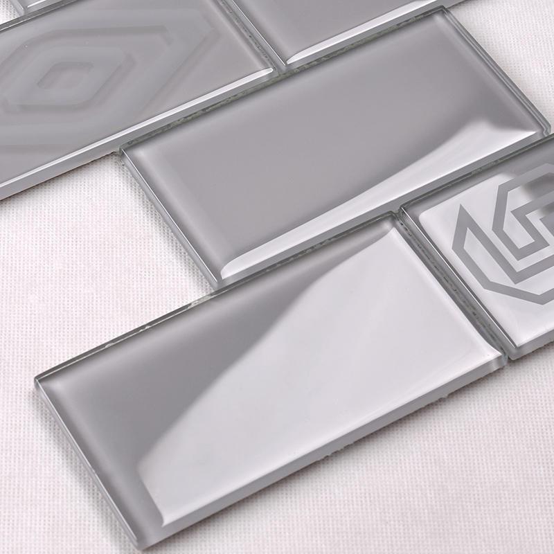 Backsplash Wall Tile Light Grey Glass Mosaic Subway Tile For Kitchen  HSP41