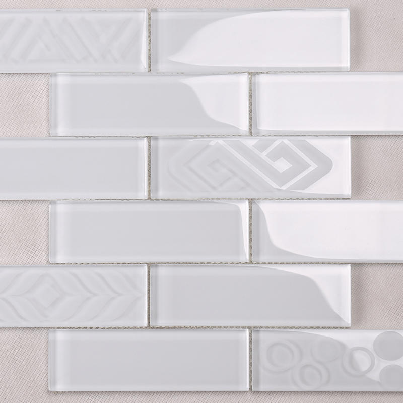Super White Sand Blast Glass Mosaic Subway Tile  HSP54