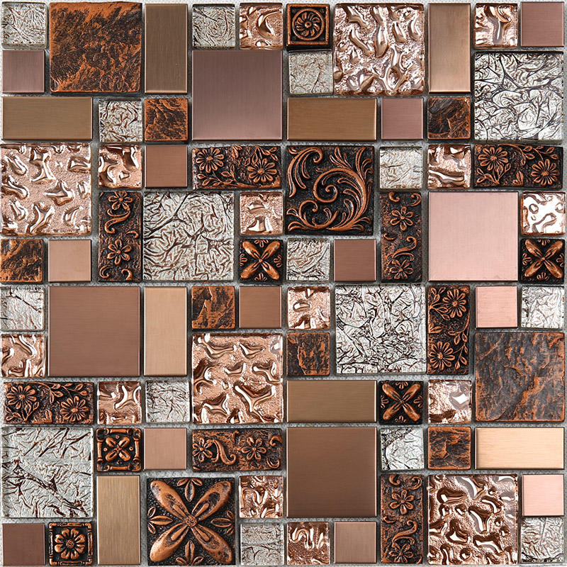 Rose Gold Resin Metallic Glass Mosaic Tile  HXL09