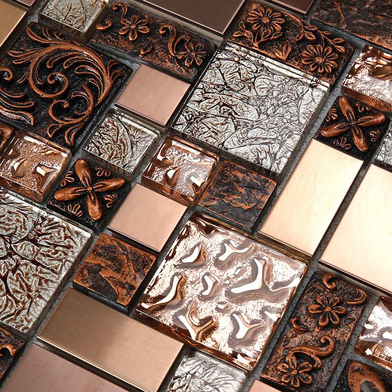 Rose Gold Resin Metallic Glass Mosaic Tile  HXL09
