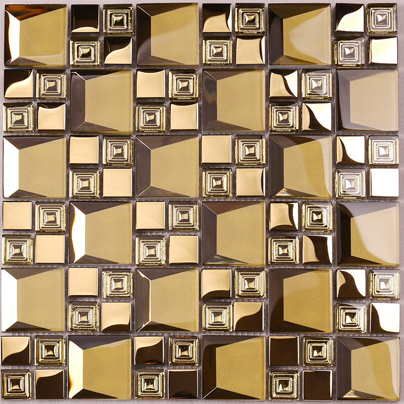 Golden 3D Beveled Electroplated Glass Mosaic Tiles  HDT04