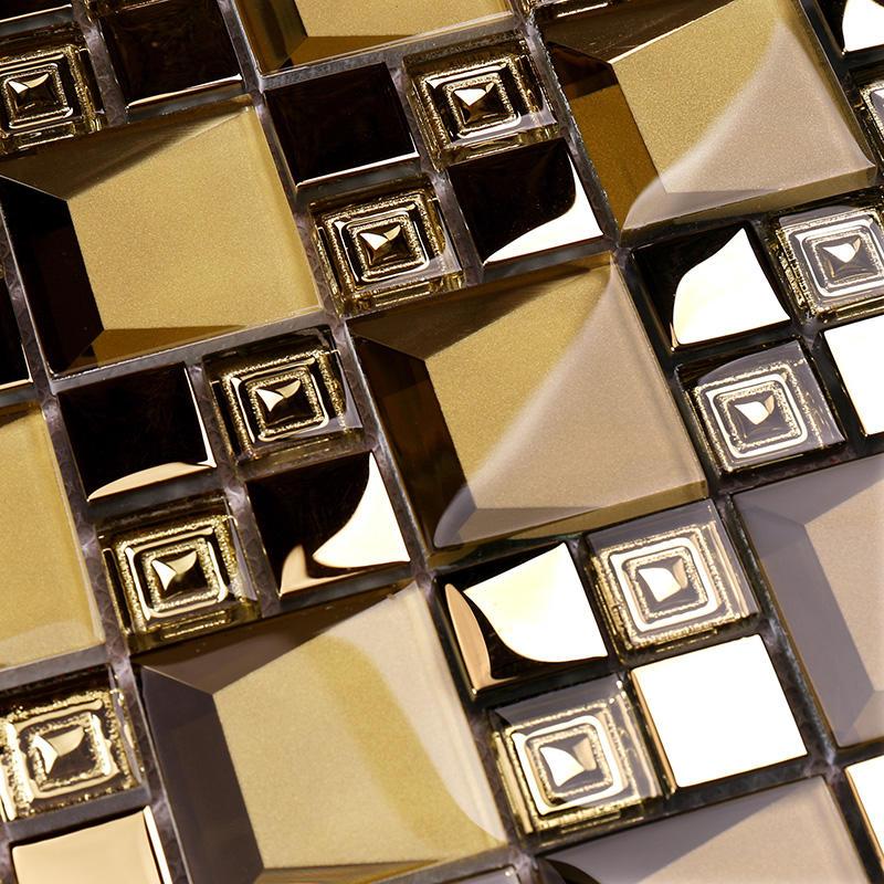 Golden 3D Beveled Electroplated Glass Mosaic Tiles  HDT04