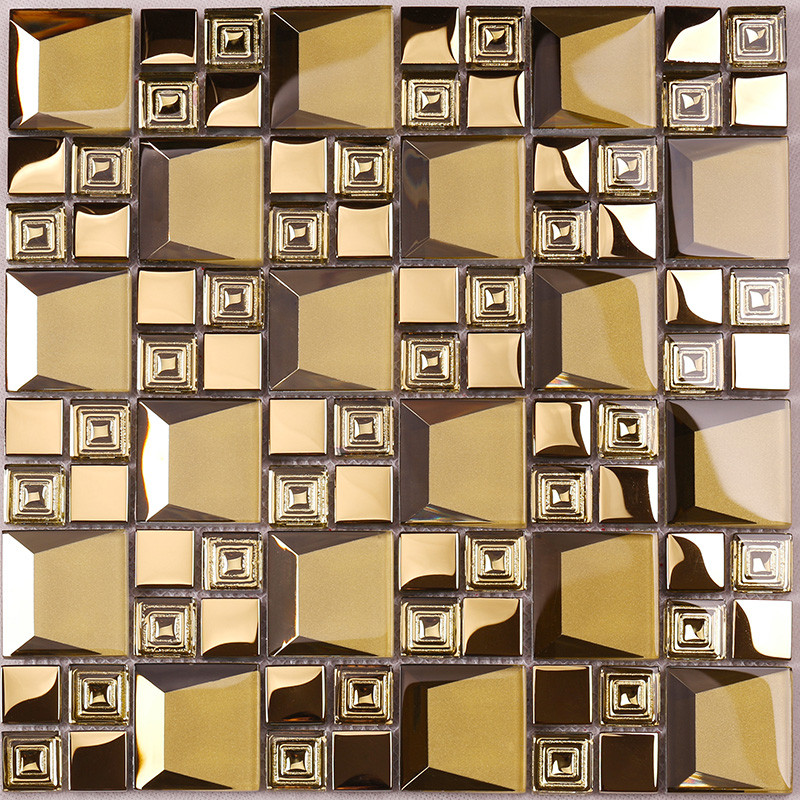 Heng Xing-High-quality Glass Wall Tiles | Golden 3d Beveled Electroplated Glass Mosaic-3