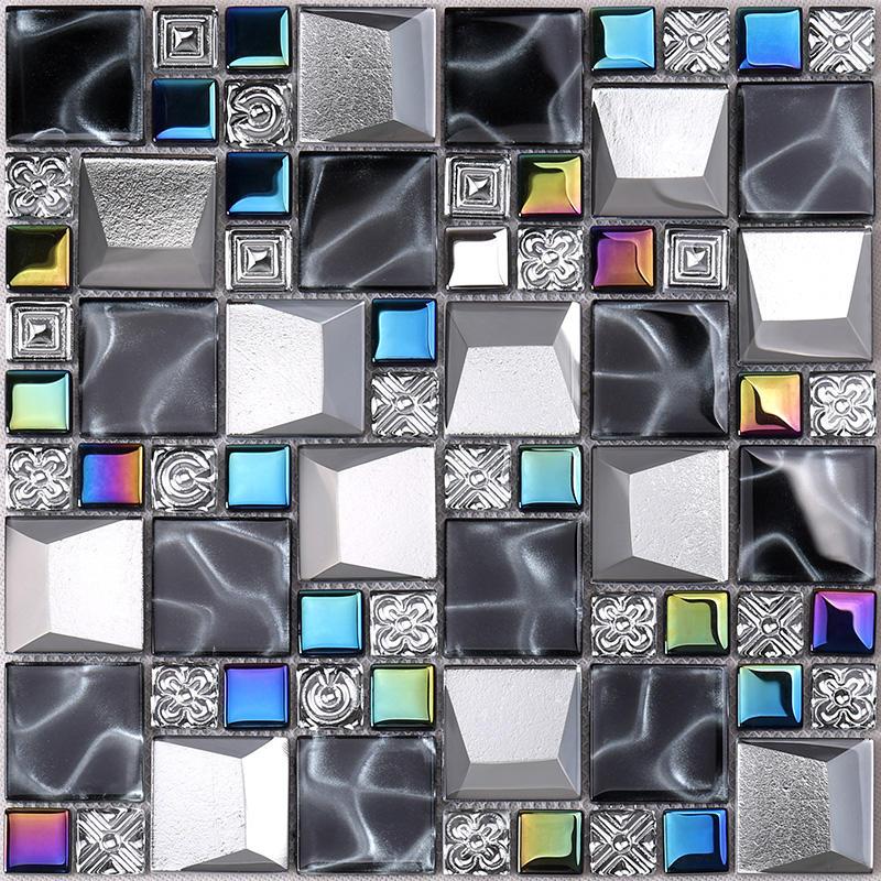 Iridescent Grey Beveled Cold Spray Glass Mosaic Tiles  HDT26