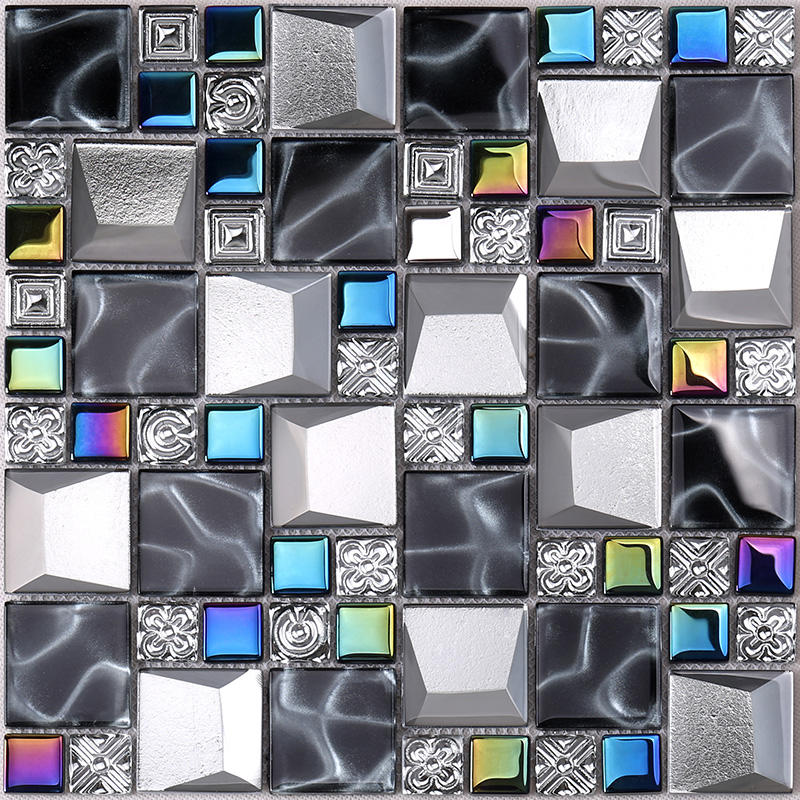 Iridescent Grey Beveled Cold Spray Glass Mosaic Tiles  HDT26