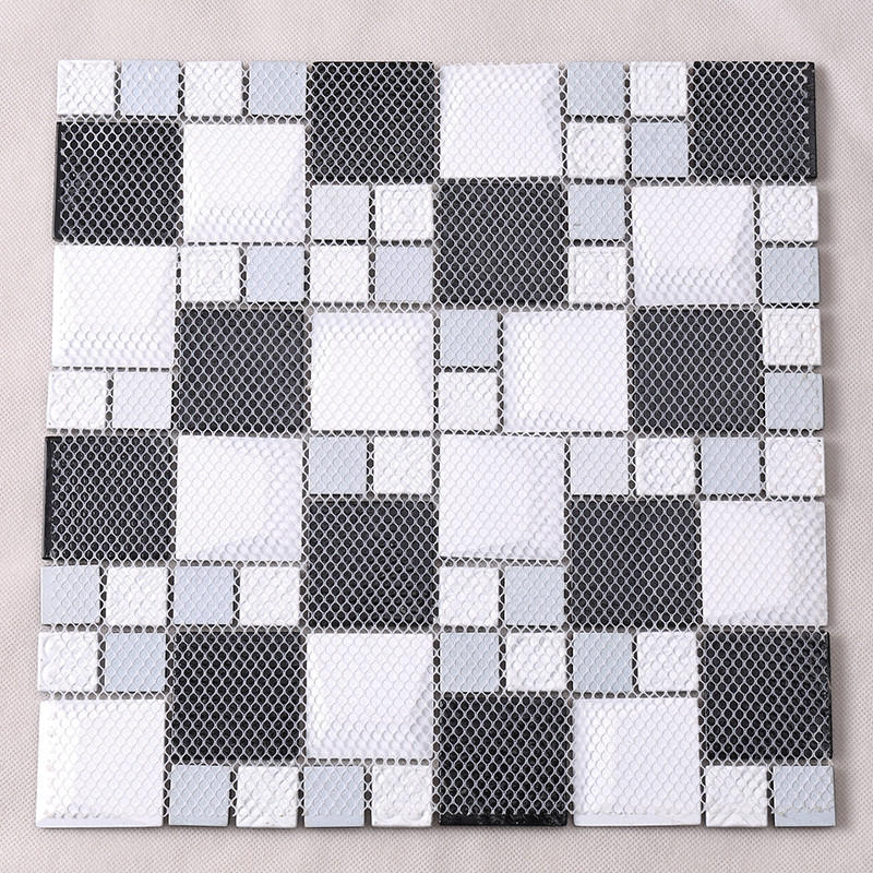Custom square kitchen glass mosaic tile Hengsheng 3d