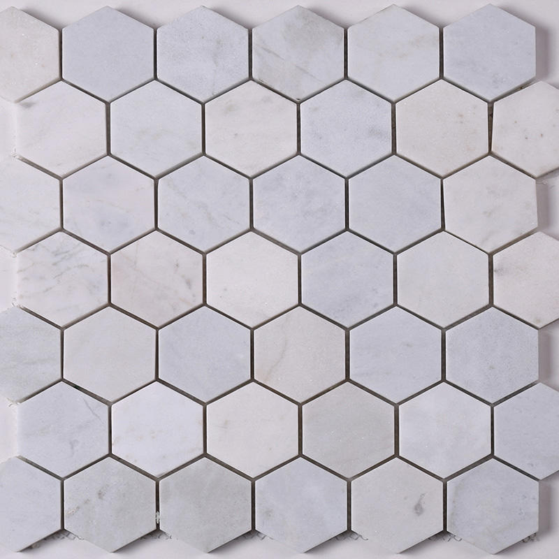 2x2 White Hexagon Carrara Stone Marble Mosaic Tile  HSC24
