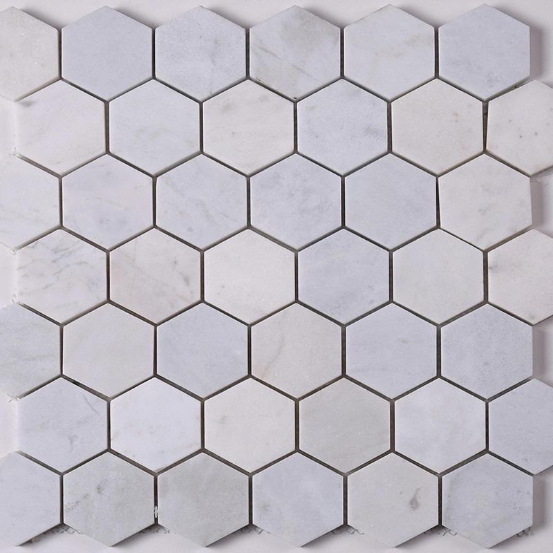 2x2 White Hexagon Carrara Stone Marble Mosaic Tile  HSC24