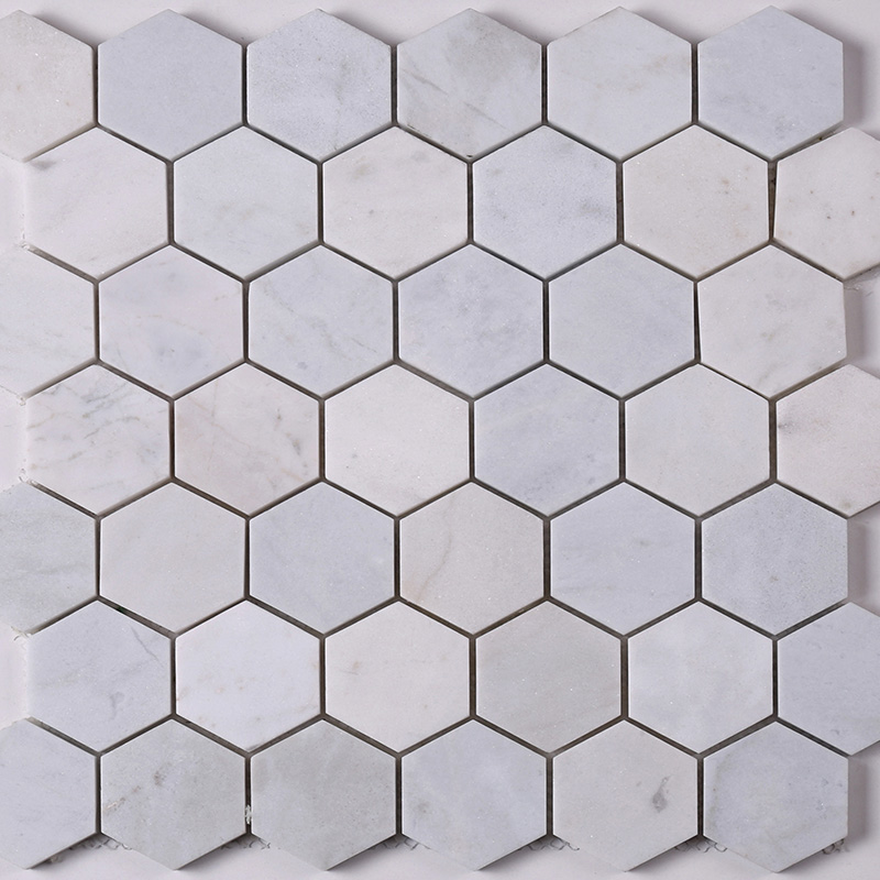 Heng Xing-Find Stone Tile 2x2 White Hexagon Carrara Stone Mosaic Tile Hsc24 | -3