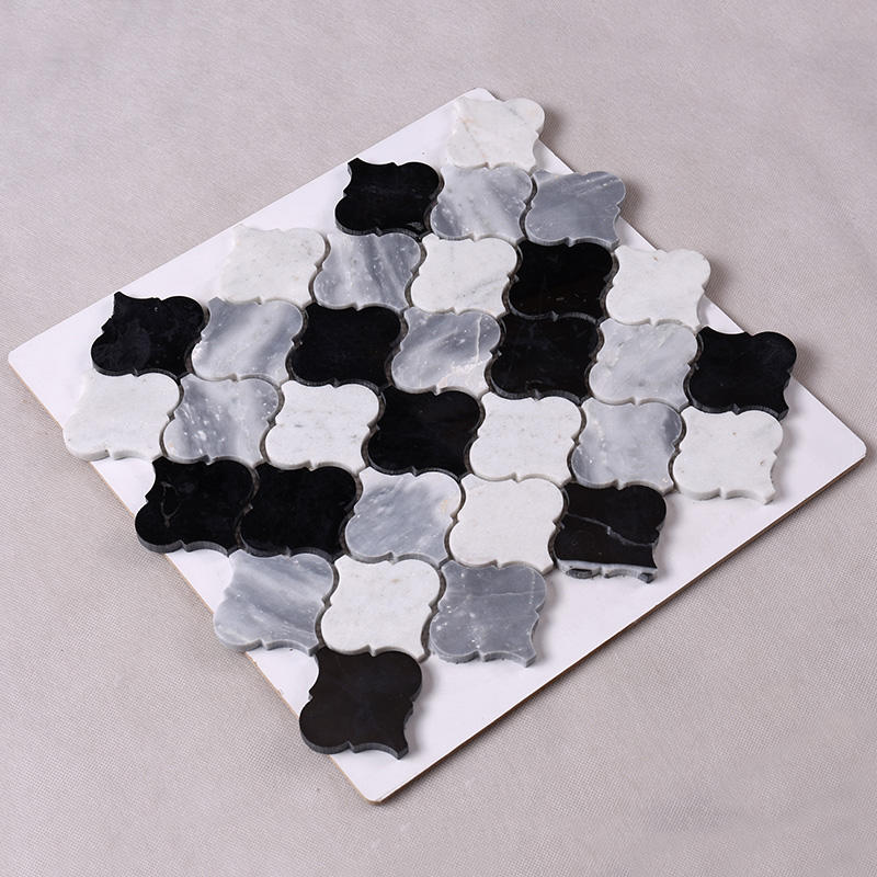 3x3 Black and White Gray Lantern Stone Mosaic Tile  HSC38