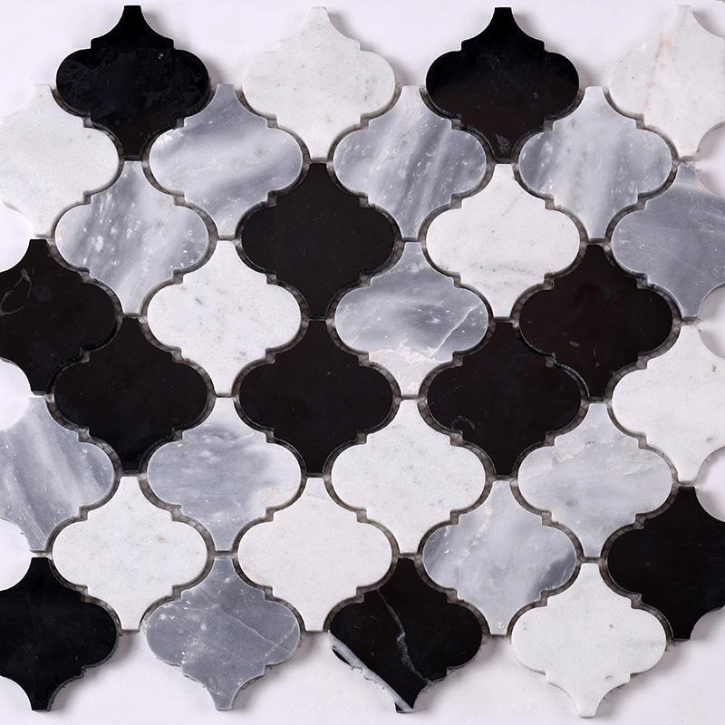 3x3 Black and White Gray Lantern Stone Mosaic Tile  HSC38