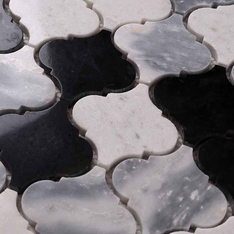 Heng Xing-3x3 Black and White Gray Lantern Stone Mosaic Tile HSC38-1
