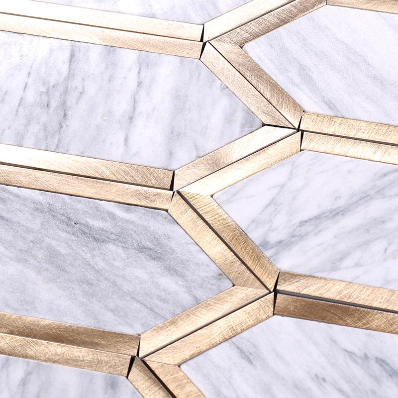 Heng Xing-Find Carrara Herringbone Golden Metal And Grey Stone Mosaic Tile For-1