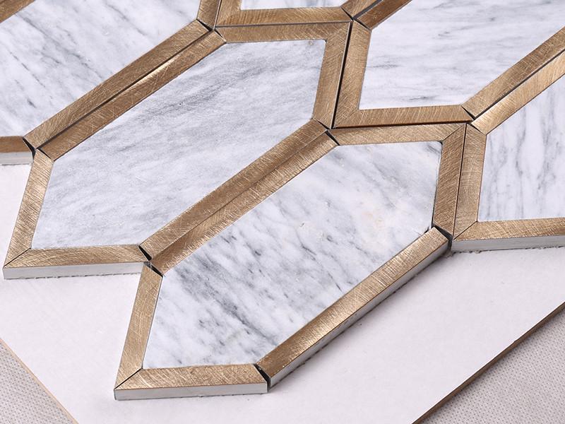 Heng Xing-Find Natural Stone Mosaic Golden Metal And Grey Stone Mosaic-1