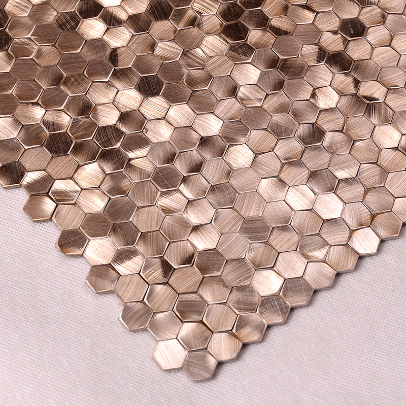Heng Xing-Preminum Rose Gold 3D Hexagon Stainless Steel Mosaic for Indoor and Outdoor HSW18187