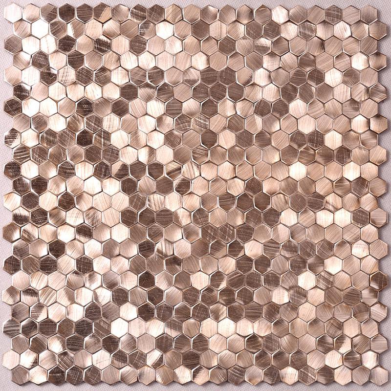 Heng Xing-Metallic Kitchen Tiles, Rose Gold Hexagon Stainless Steel Mosaic-3