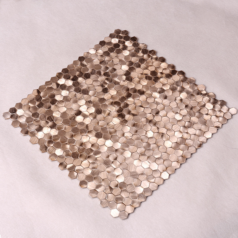 Heng Xing-Metallic Kitchen Tiles, Rose Gold Hexagon Stainless Steel Mosaic-4
