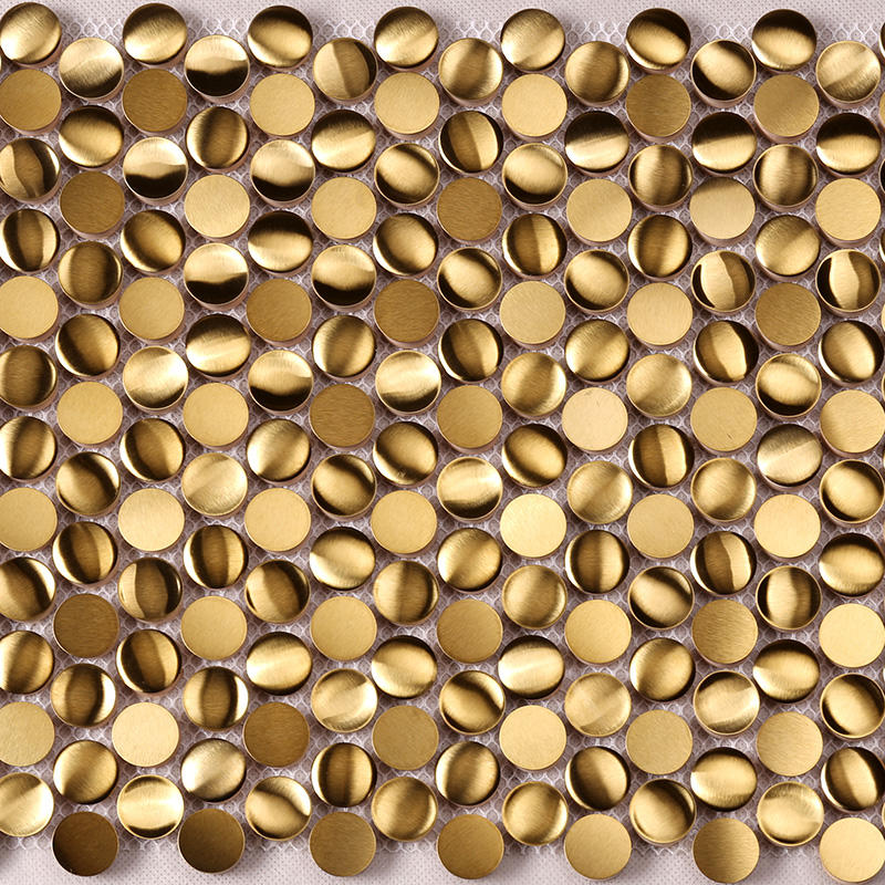 Luxuary Golden Penny Round Stainless Steel Mosaic for Wall Decoration  HSW18199