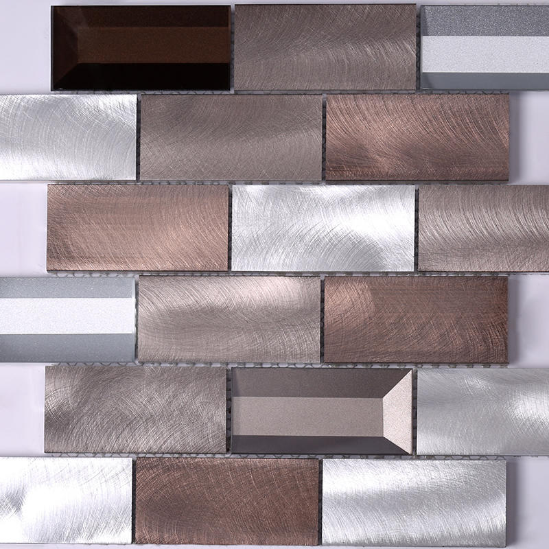 3x6  Brown Beveled Glass Metal Mosaic Tile  HLC107