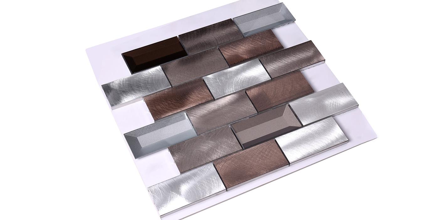 Heng Xing-3x6 Brown Beveled Glass Metal Mosaic Tile - Hengsheng