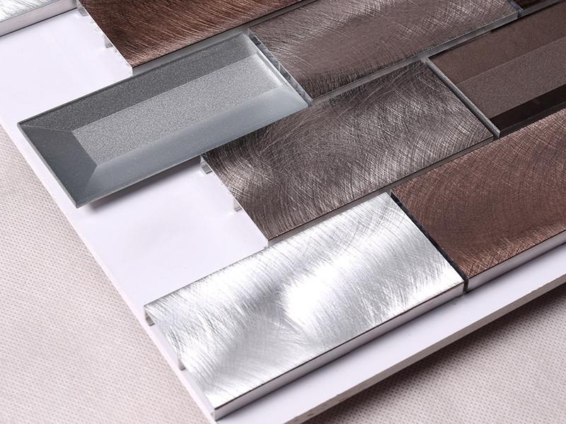 Heng Xing-3x6 Brown Beveled Glass Metal Mosaic Tile - Hengsheng-1