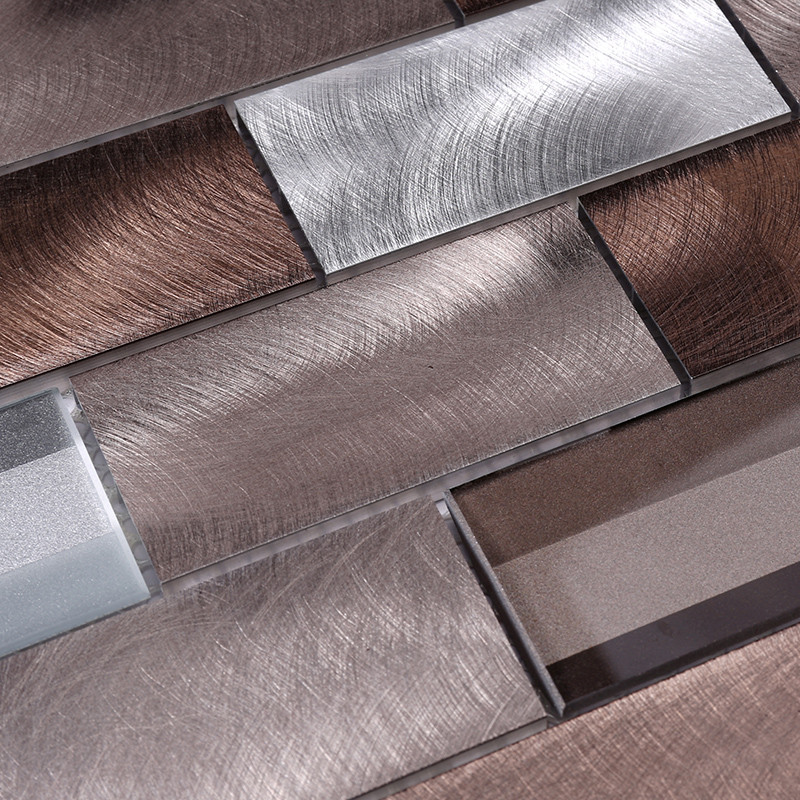 Heng Xing-3x6 Brown Beveled Glass Metal Mosaic Tile - Hengsheng-2