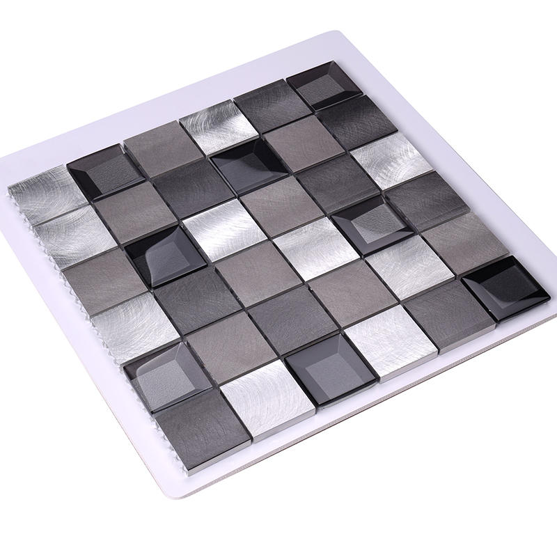 2x2 Grey Beveled Glass Metal Mosaic Tile Backsplash Tile Mosaic  HLC140