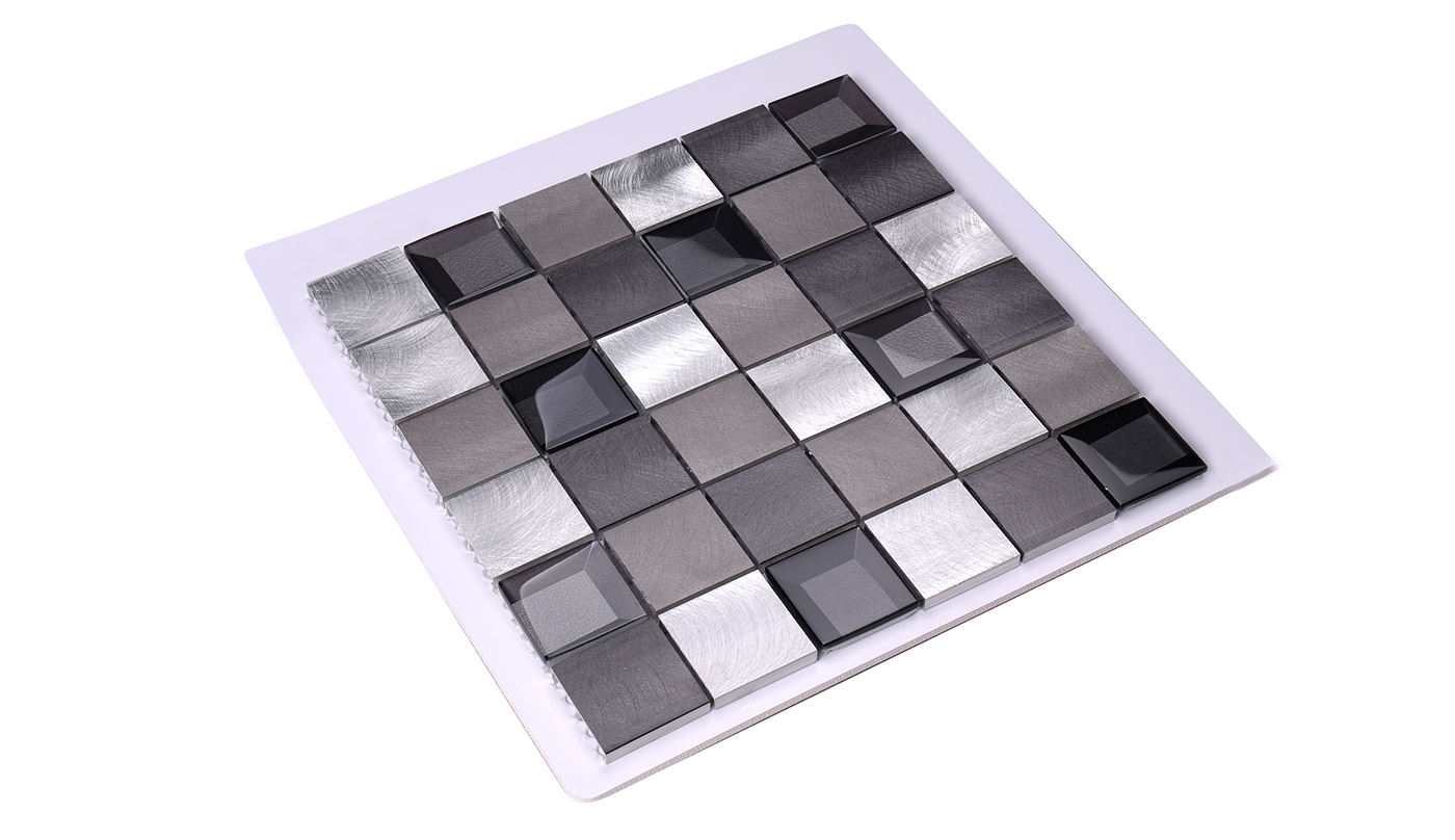Heng Xing-Metal Backsplash 2x2 Grey Beveled Glass Metal - Hengsheng