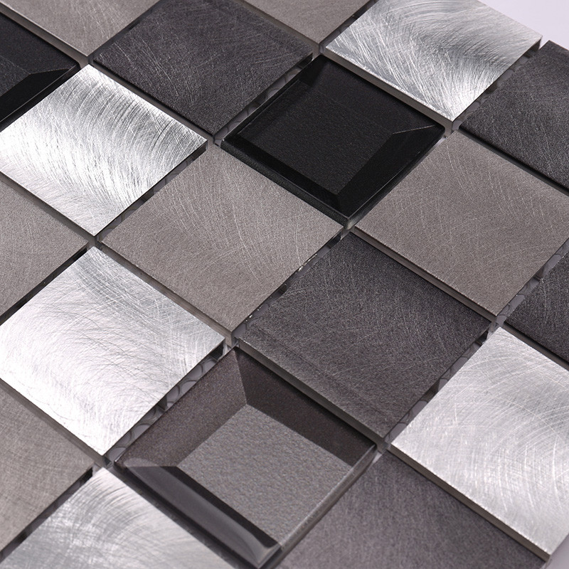 Heng Xing-Metal Backsplash 2x2 Grey Beveled Glass Metal - Hengsheng-2