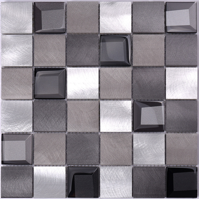 Heng Xing-Metal Backsplash 2x2 Grey Beveled Glass Metal - Hengsheng-3
