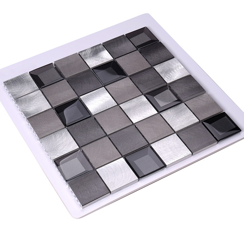Heng Xing-Metal Backsplash 2x2 Grey Beveled Glass Metal - Hengsheng-4