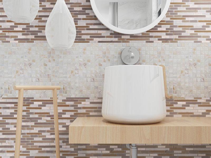 A01-MC1 Light Brown Glass Stone Mosaic Strip Tile