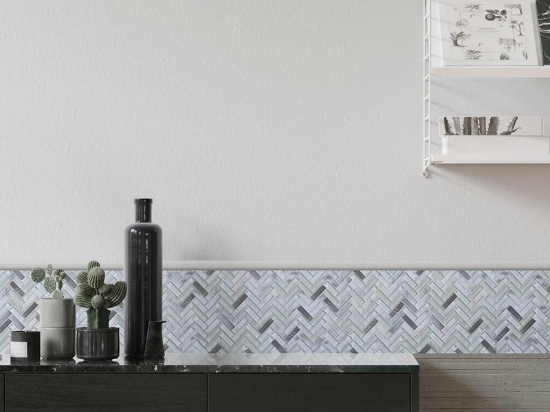 YMS37 Herringbone Glass Wall Tile