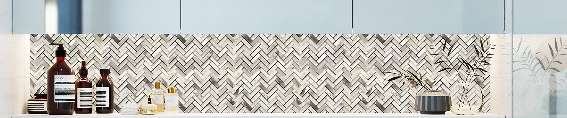 Grey Glass and Alu Mosaic Wall Tiles for Kitchen-Heng Xing