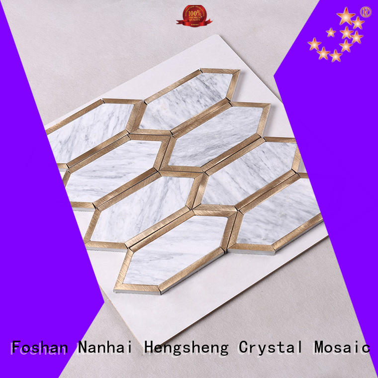 gray stone tile backsplash golden flower Heng Xing Brand