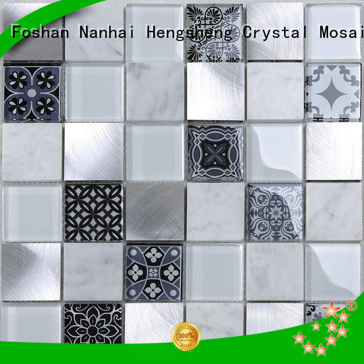 iridescent green glass tile wholesale for kitchen Heng Xing