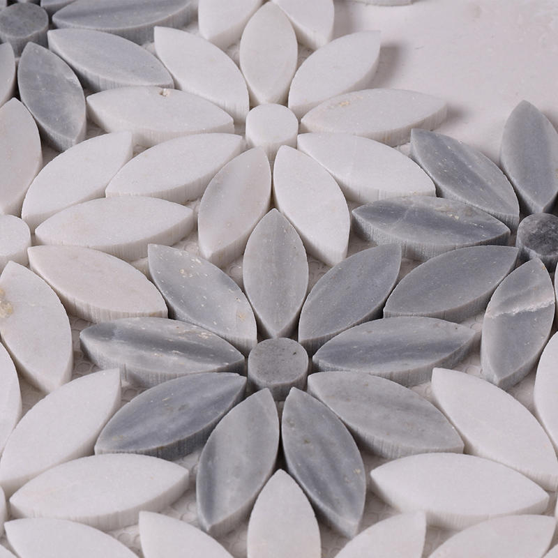 Heng Xing-Beautiful White and Grey Flower Marble Mosaic Floor and Backsplash Tile HSC44