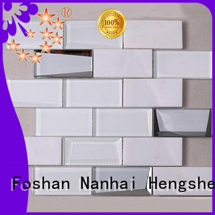 Heng Xing 3x3 white glass tile wholesale for kitchen