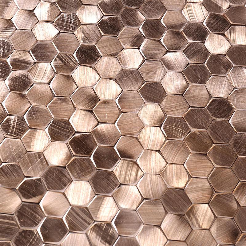 Heng Xing-Metallic Kitchen Tiles, Rose Gold Hexagon Stainless Steel Mosaic-2