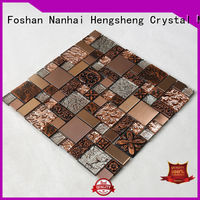 spray Custom metallic home glass mosaic tile Heng Xing electroplated