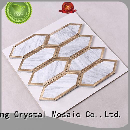 stone tile backsplash metal white stone mosaic beautiful Hengsheng Brand