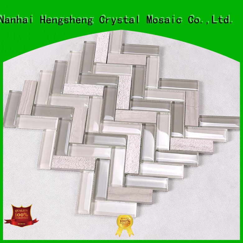 metal metallic hexagon glass tiles for kitchen Hengsheng manufacture