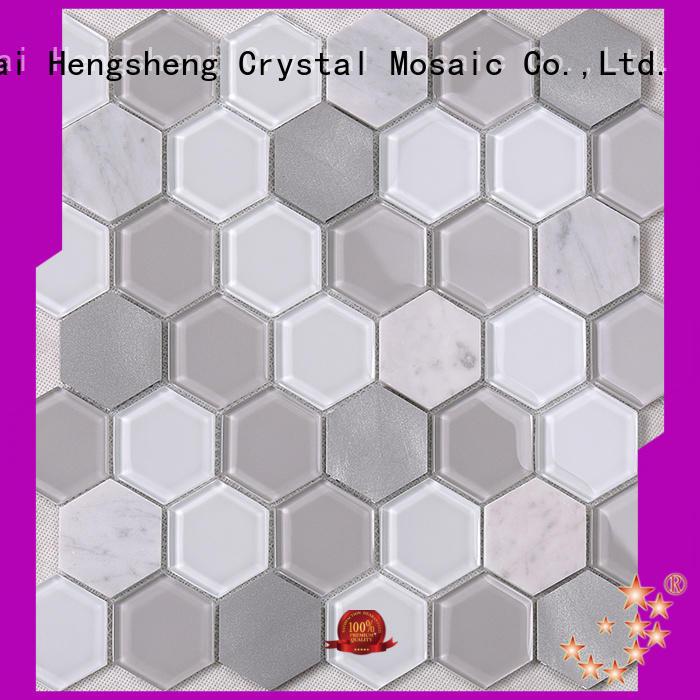 beige black glass tile backsplash wholesale for hotel Heng Xing