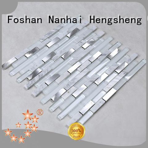 Custom decoration iridescent glass mosaic tile Hengsheng metallic