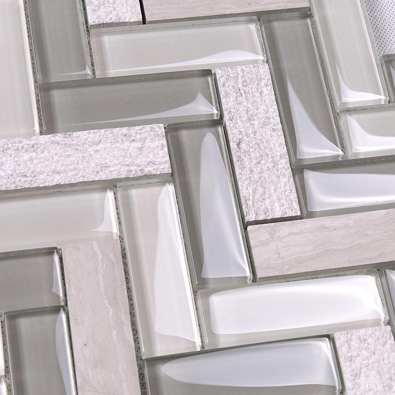 Heng Xing-Herringbone Kitchen Glass Stone Mosaic Wall Tile HYM19