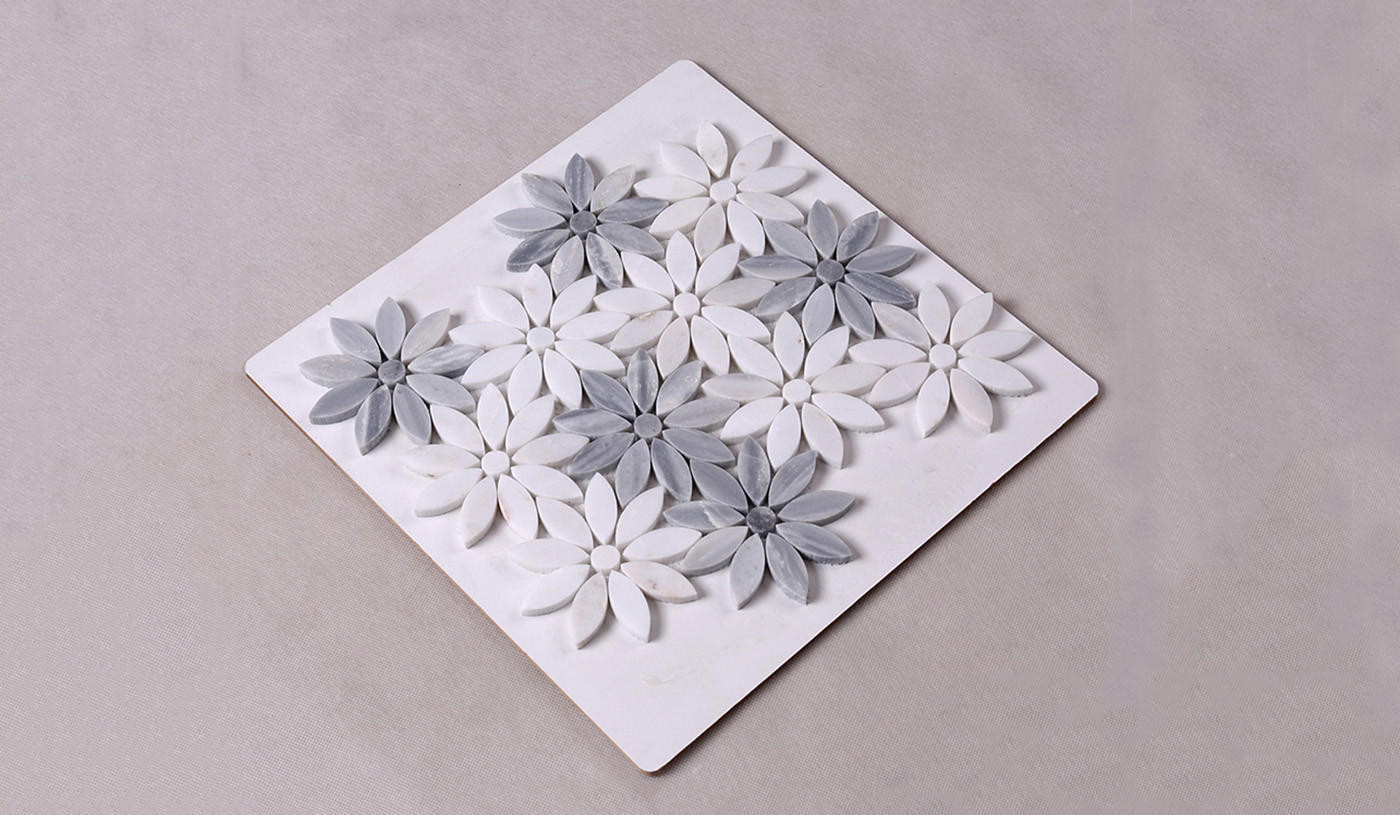 Heng Xing-Find Marble Backsplash Beautiful White And Grey Flower Marble Mosaic