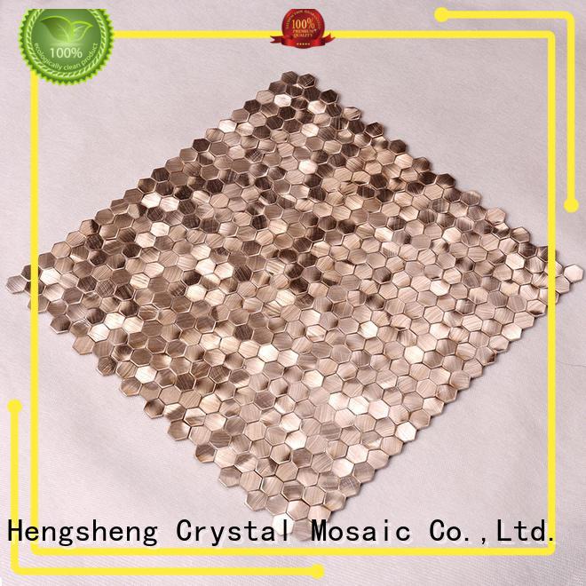 Heng Xing Brand decoration alloy mosaic metallic kitchen wall tiles bedroom