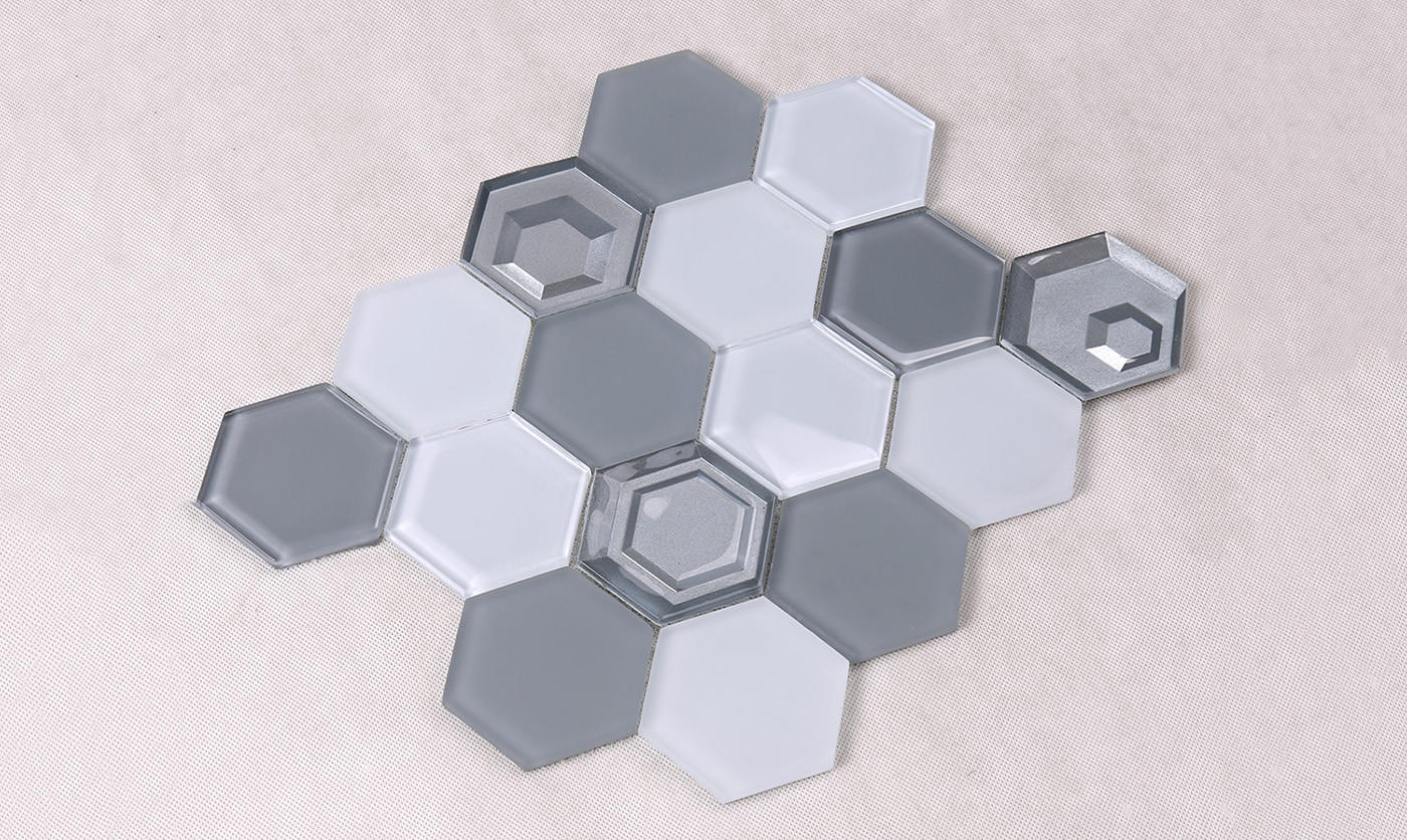 Heng Xing-Glass Subway Tile 3x3 Grey And White Hexagon Glass Mosaic