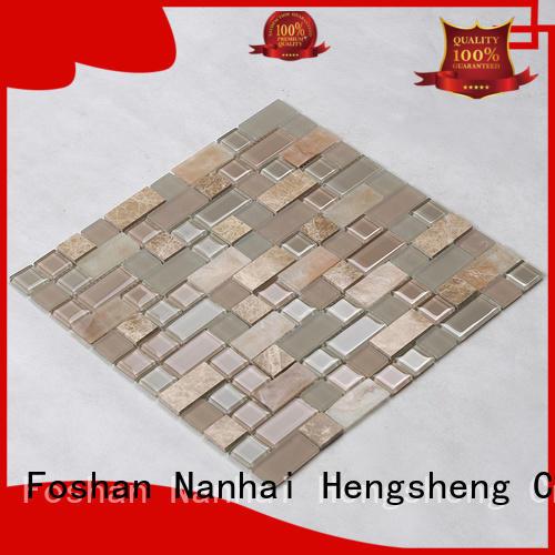 Heng Xing beveled white glass tile backsplash hexagon for villa