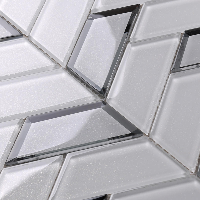 Heng Xing-Best Black Glass Tile New White Trapezoid Kitchen Wall Glass Mosaic Tile-2